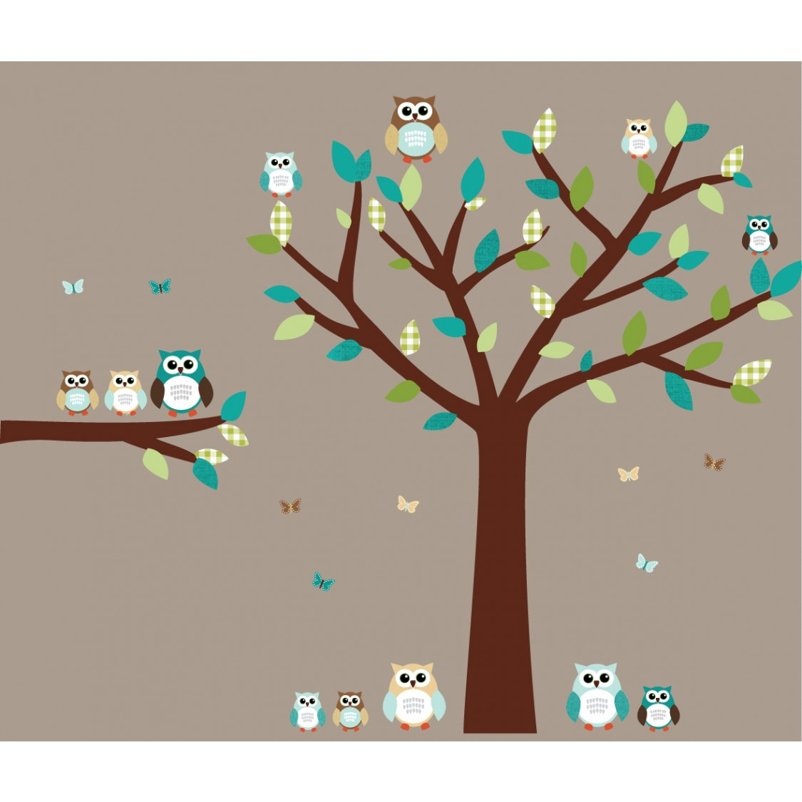 Teal Owl Wall Decor With Tree Wall Decal For Girls Bedrooms