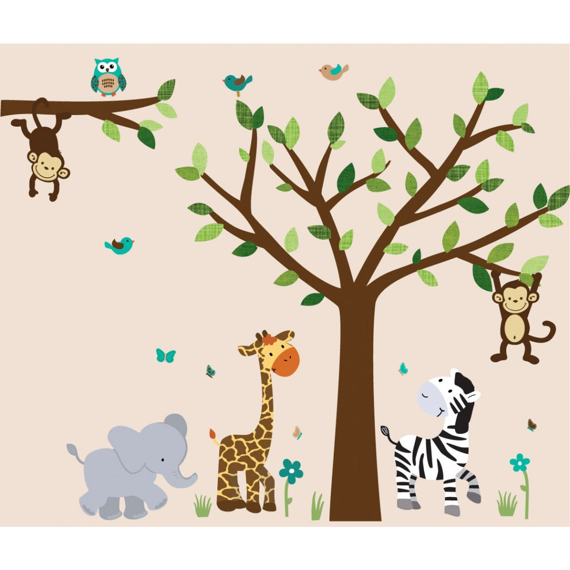 Jungle murals for kids rooms with elephant wall decals for for Animal wall mural