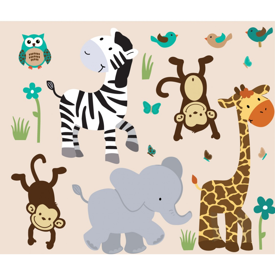 Wild Animals Safari Evergreen Animal Wall Decals