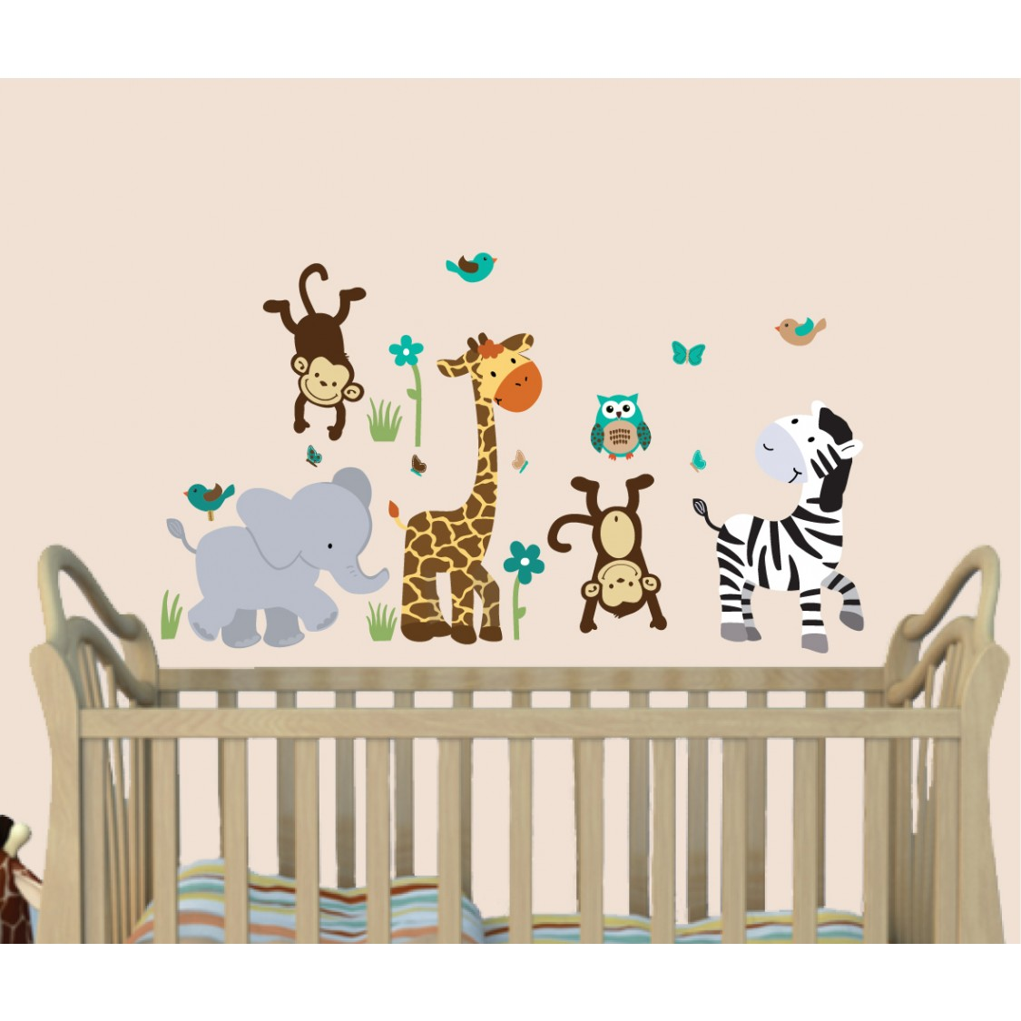 Safari Wall Art With Giraffe Wall Stickers For Children