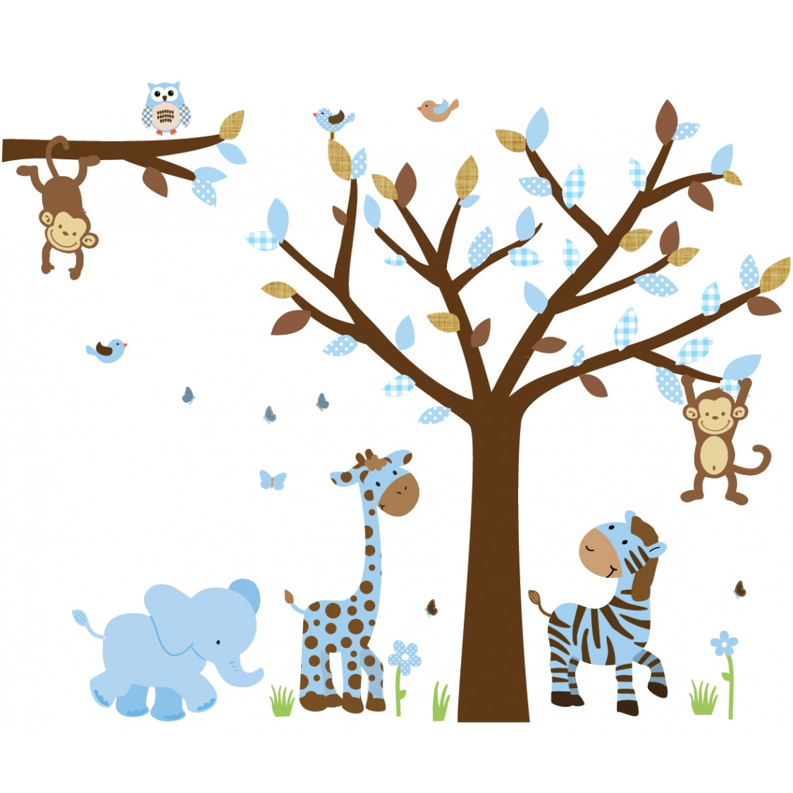 Blue & Brown Jungle Safari Stickers With Elephant Decals For Boys