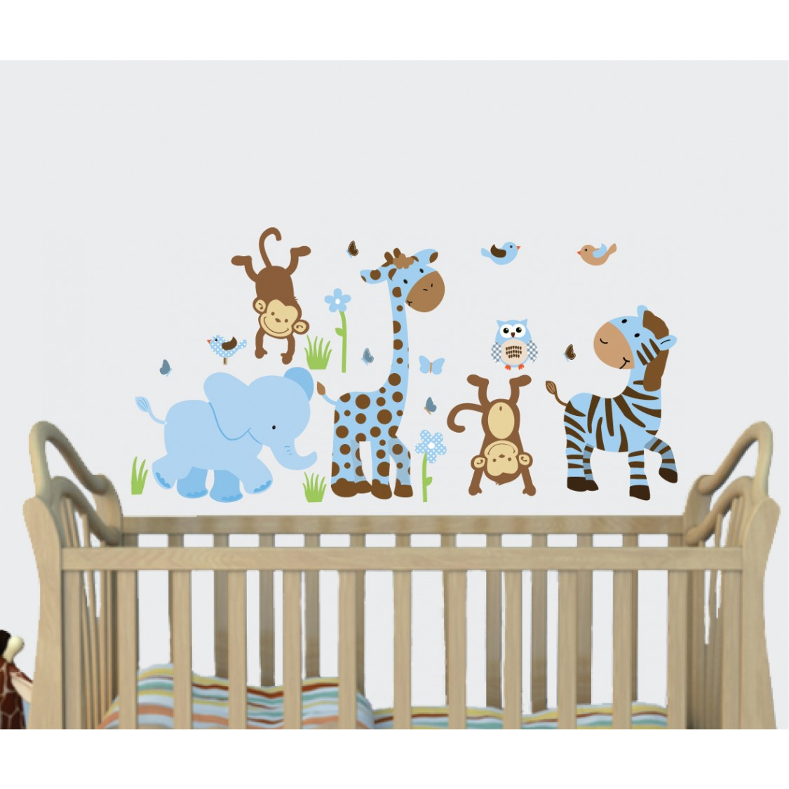Blue brown jungle murals for kids rooms with giraffe for Baby room jungle mural