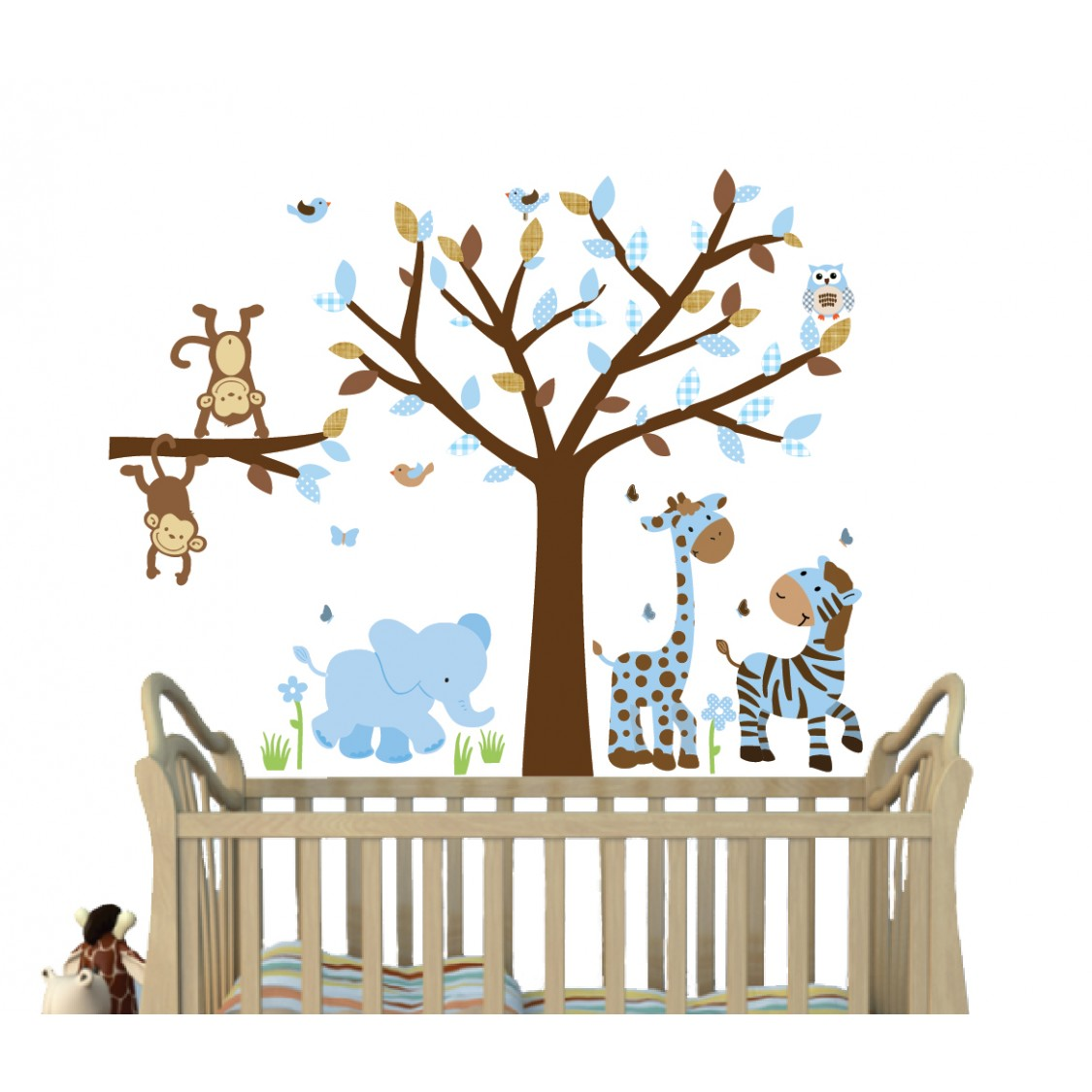 Blue & Brown Jungle Wall Stickers With Giraffe Stickers For Babys Nursery