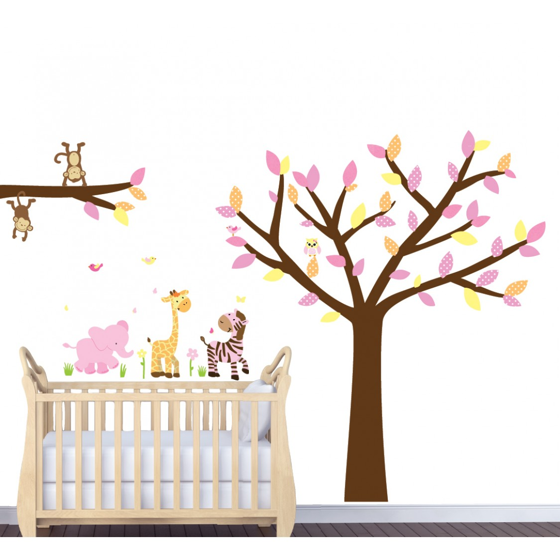 Pink Safari Wall Murals With Tree Wall Murals For Girls Rooms