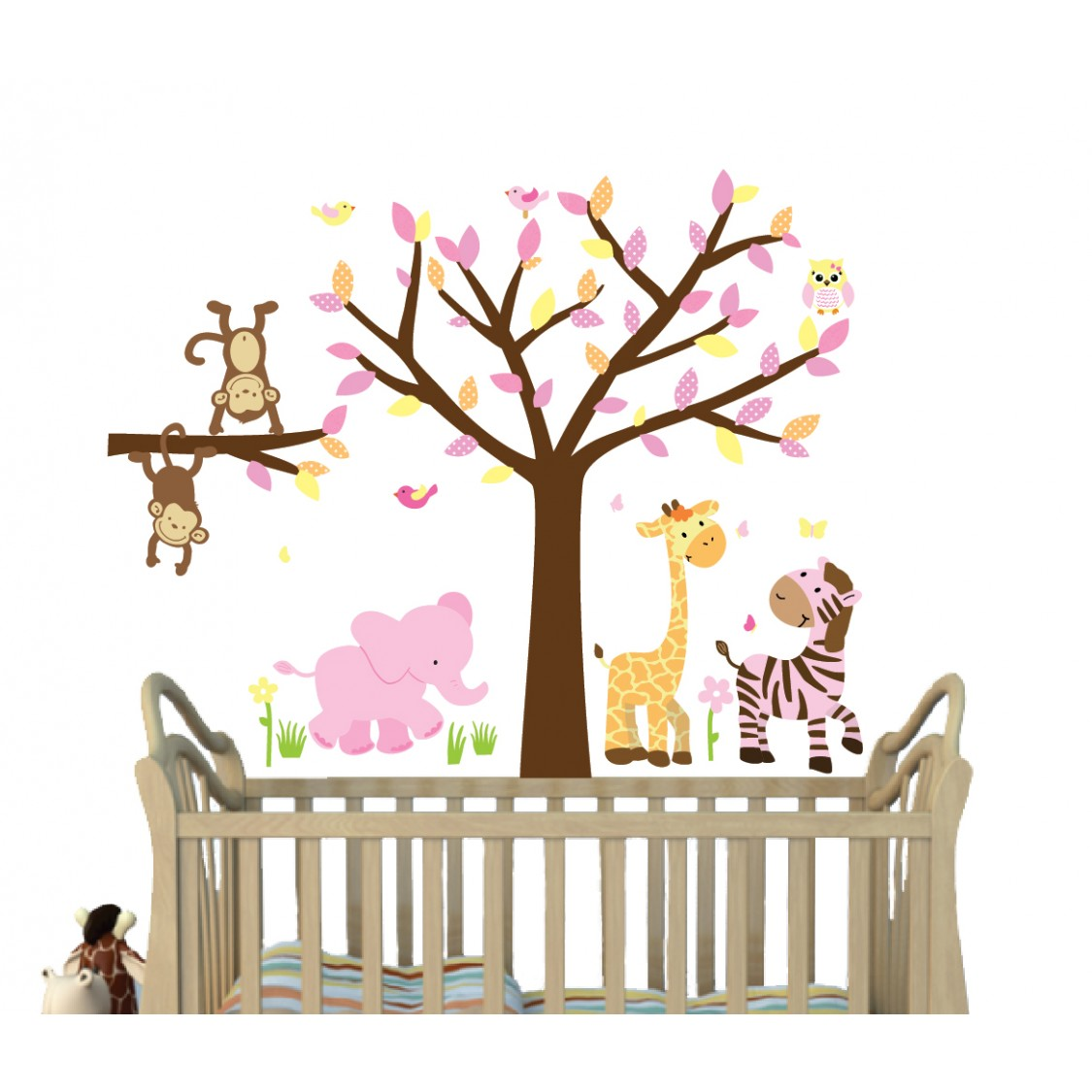 Pink Safari Wall Clings With Tree Wall Murals For Girls Nursery