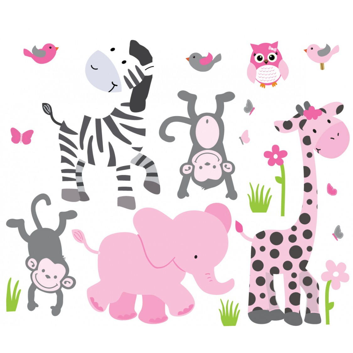 Pink & Gray Jungle Decals For Girls Rooms