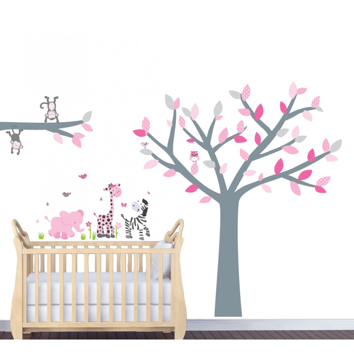 Pink Decals With Wall Decal Tree Nursery For Girls Bedrooms  sc 1 st  Nursery Decals and More & Pink and Grey Jungle Wall Stickers For Nursery With Tree Wall Art ...
