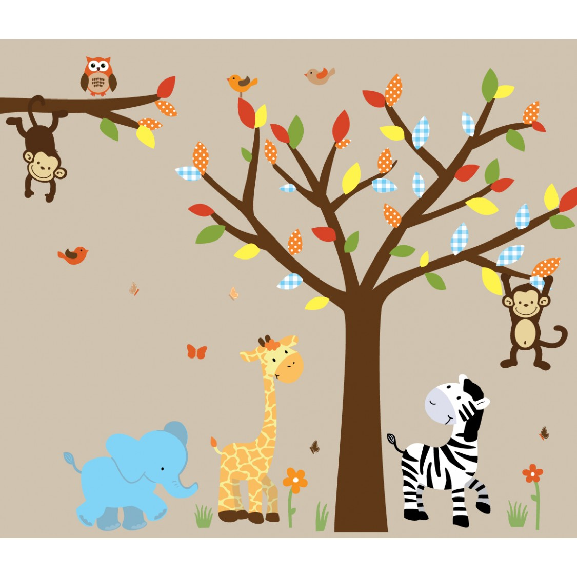 Colorful Jungle Safari Stickers With Elephant Wall Decal For Boys Bedrooms