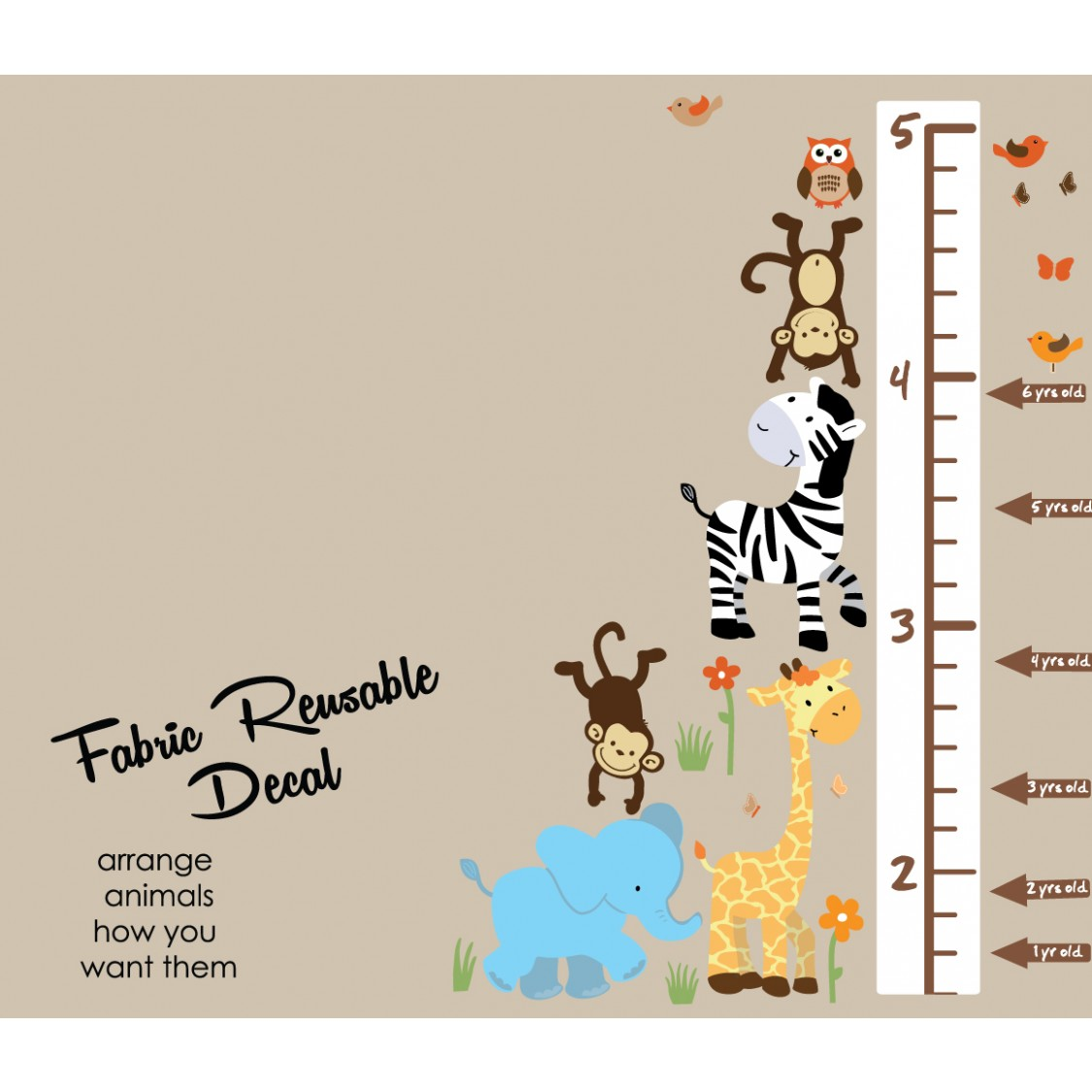 Colorful Jungle Wall Decorations With Growth Wall Chart For Play Rooms
