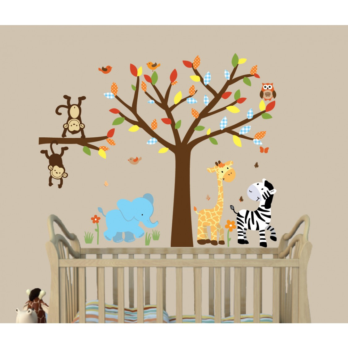 safari jungle wall murals with tree decor for nursery. Black Bedroom Furniture Sets. Home Design Ideas