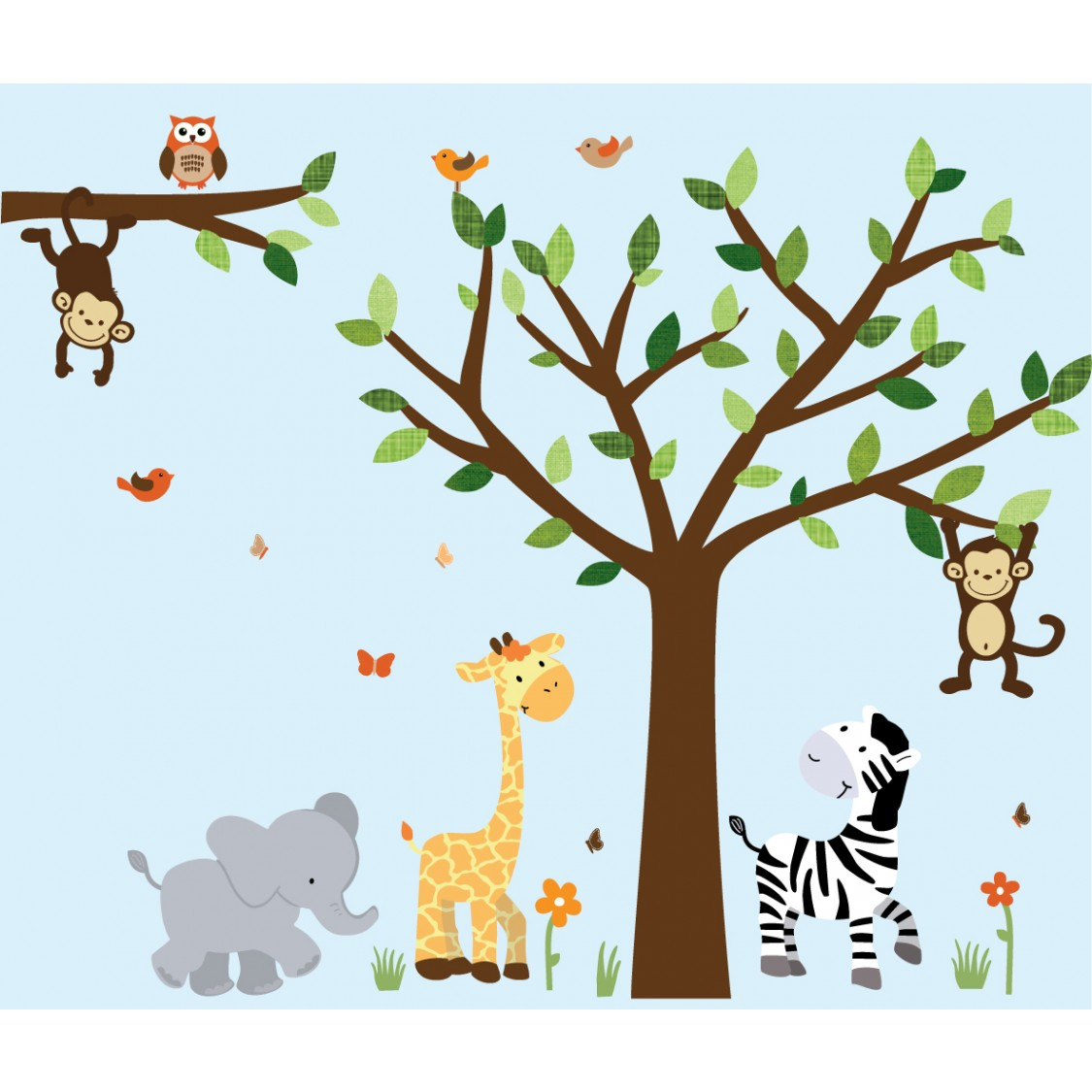 Jungle wall decal with elephant wall art for boys for Baby jungle mural