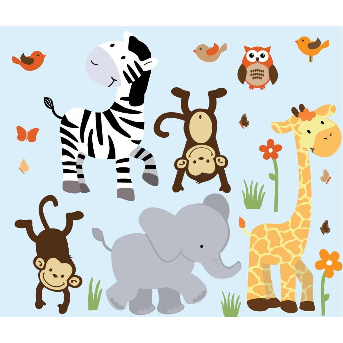 Jungle Nursery Wall Decals With Zebra For Boys Bedrooms