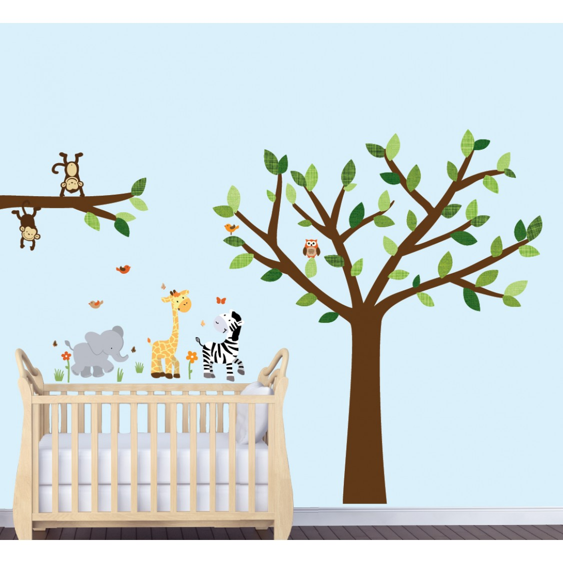 Jungle Wall Art With Elephant Wall Decal For Boys Rooms