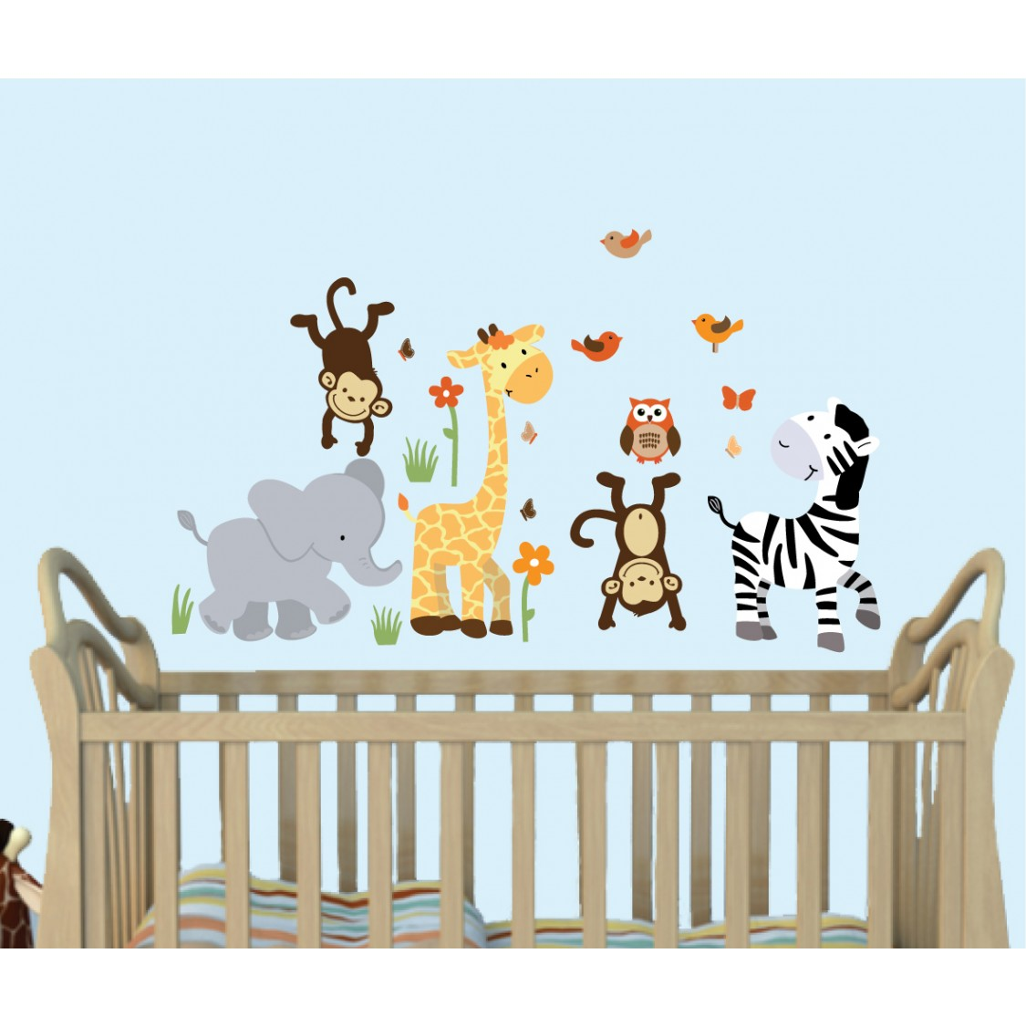 Jungle Wall Stickers For Nursery With Giraffe Wall Decals For Children