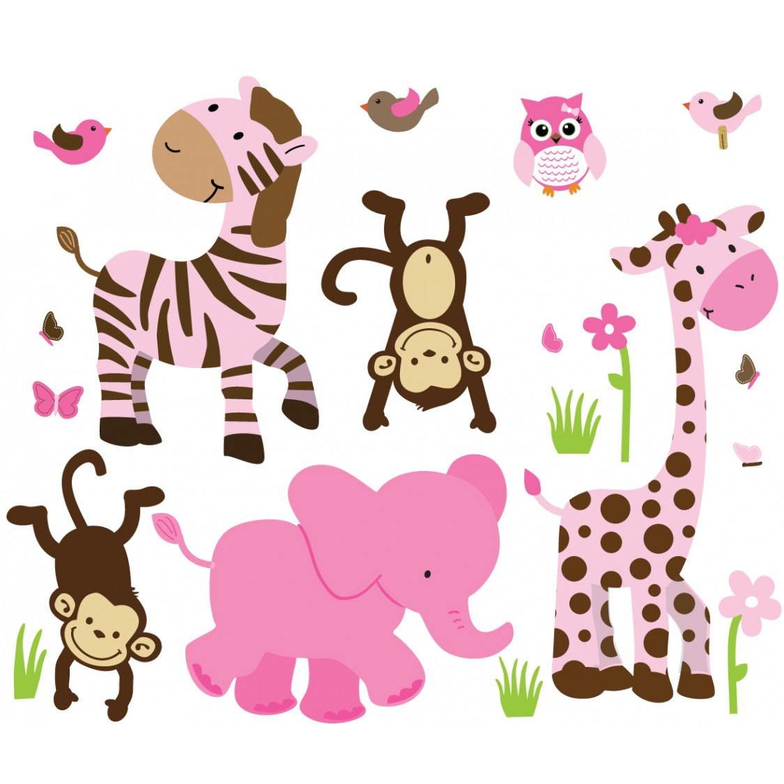 Pink & Green Jungle Wall Art For Play Rooms