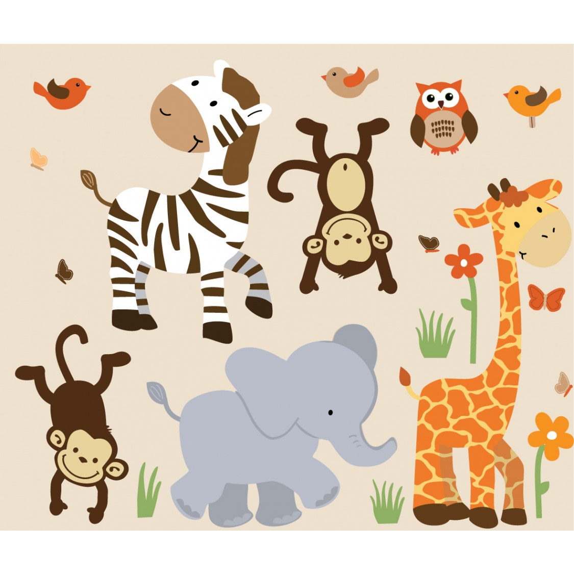 Safari Murals With Zebra Wall Decor For Boys