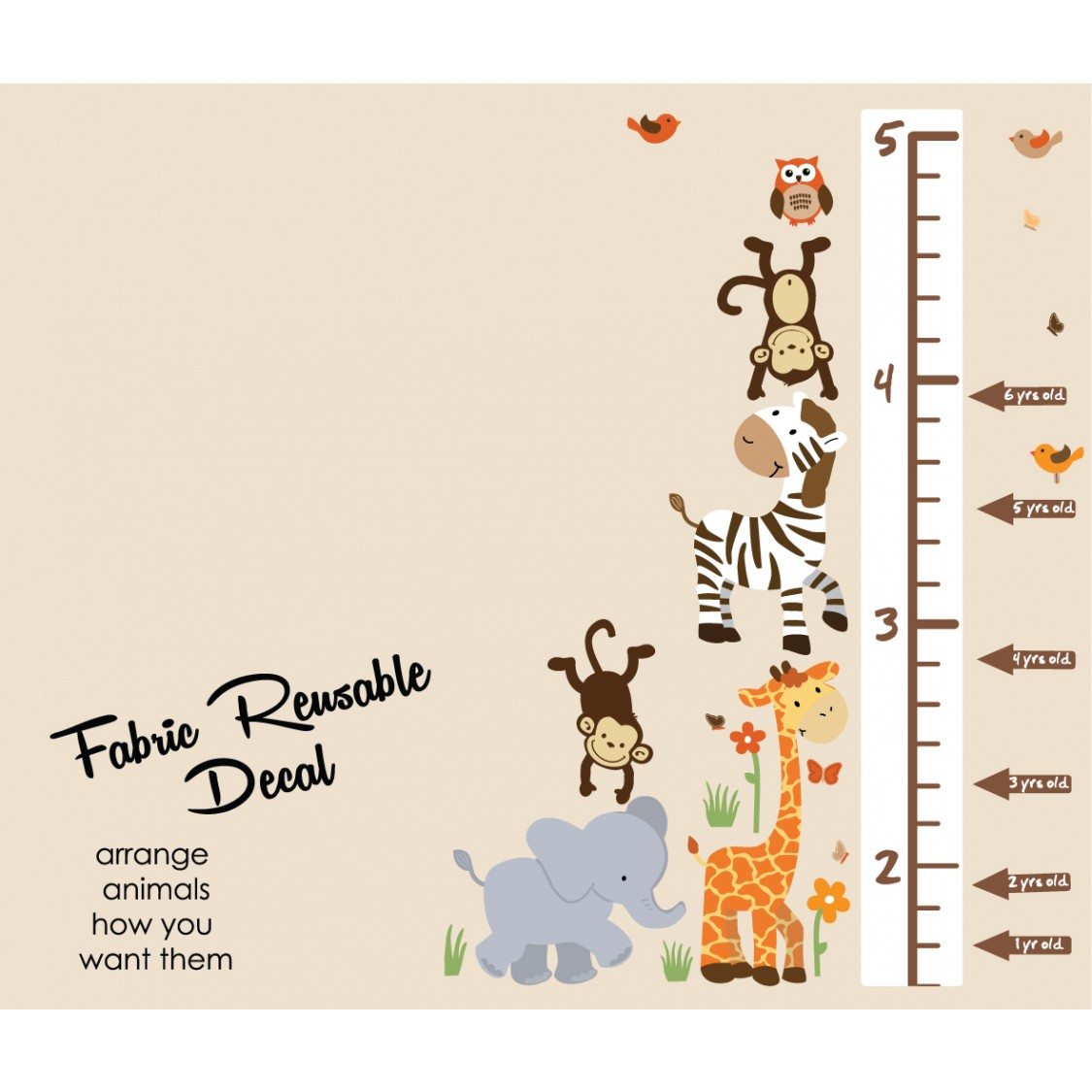 Jungle Wall Mural With Growth Chart Decals For Kids Rooms