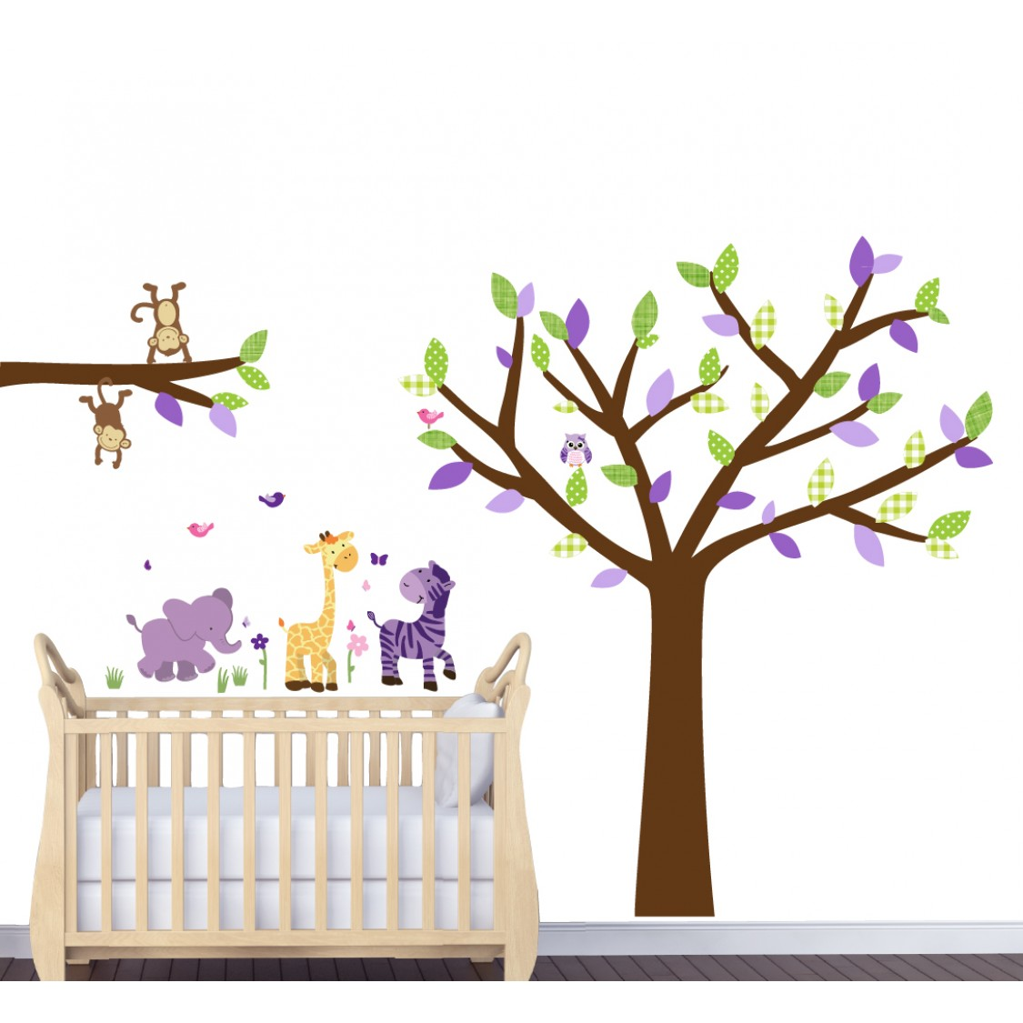 Purple Safari Wall Art For Nursery With Tree Wall Decal