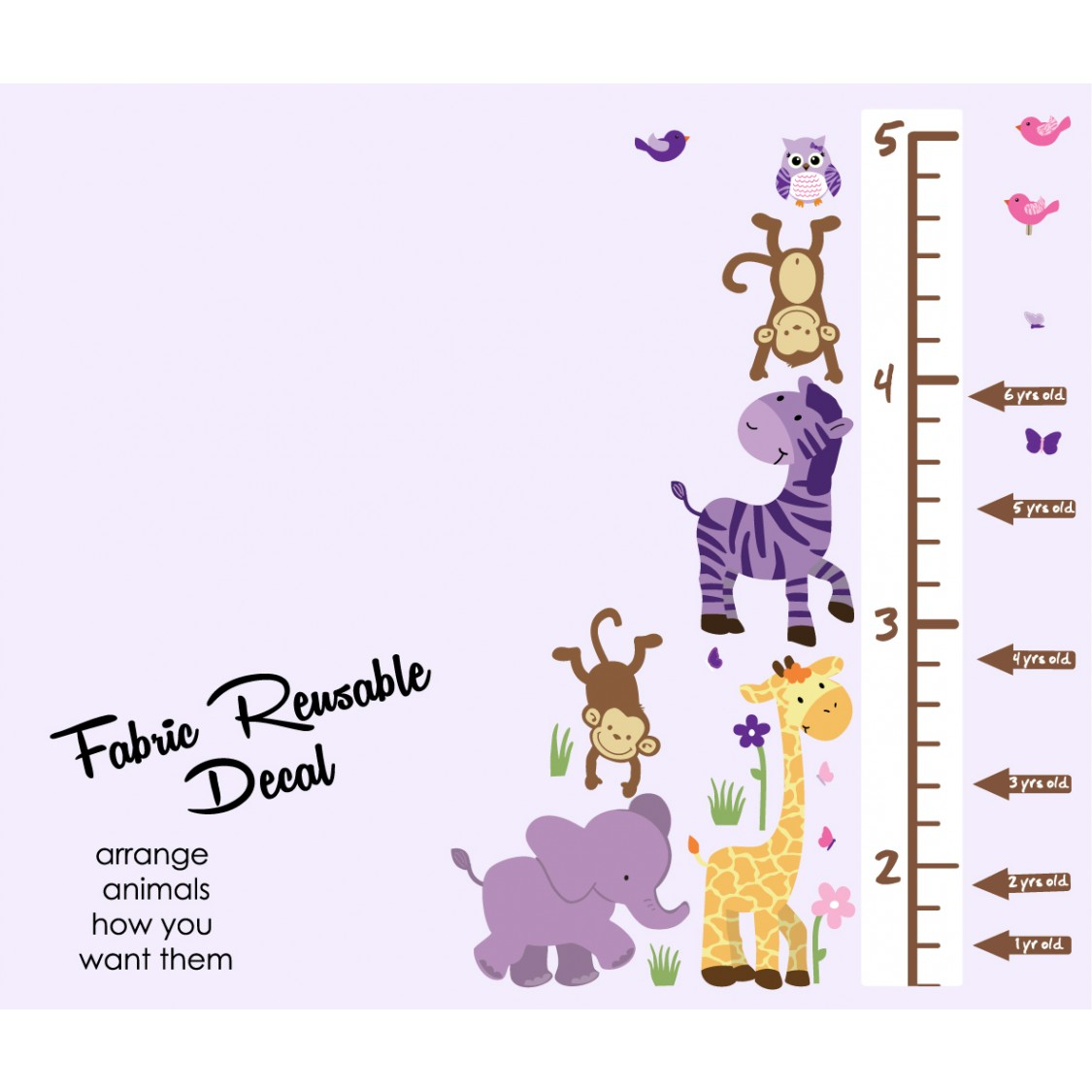Purple Jungle Murals For Kids With Wall Height Chart For Girls
