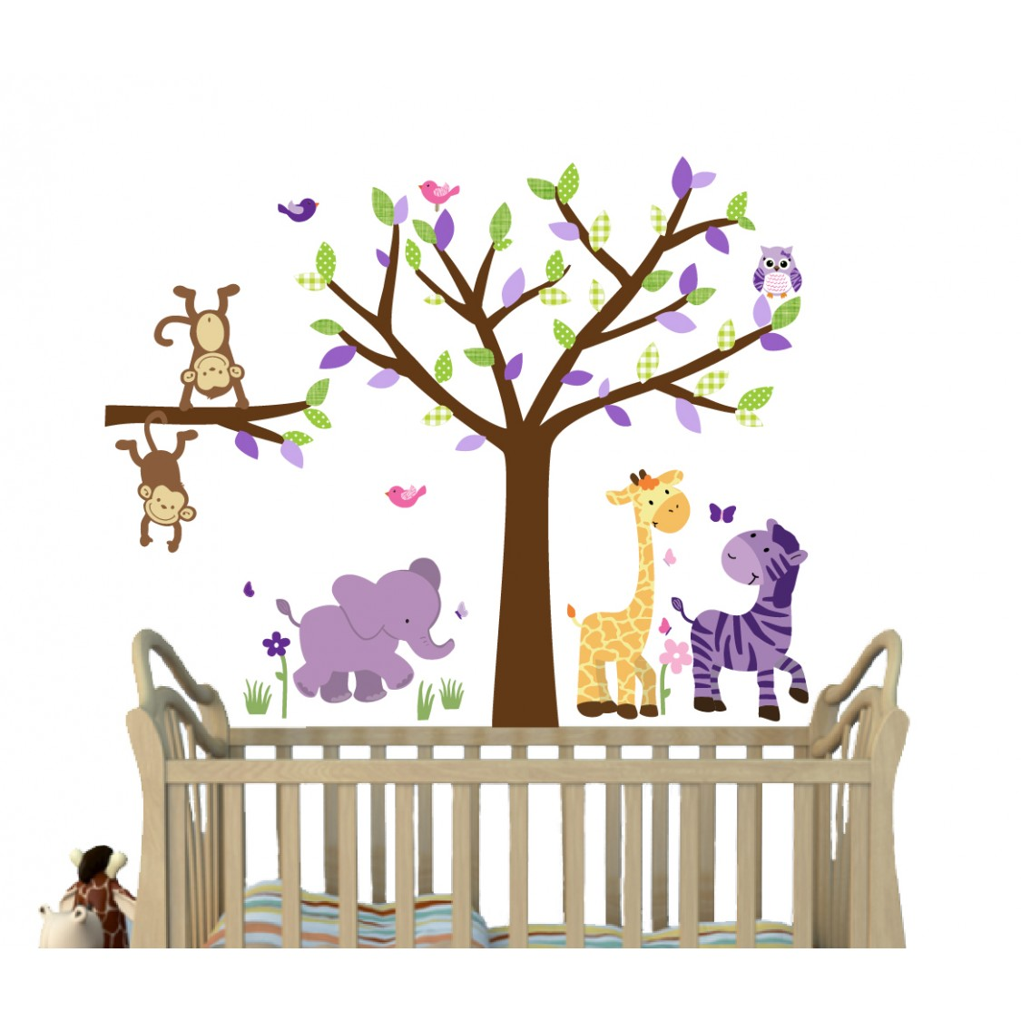 Safari Wall Clings With Tree Wall Decals For Nursery For Play Nursery