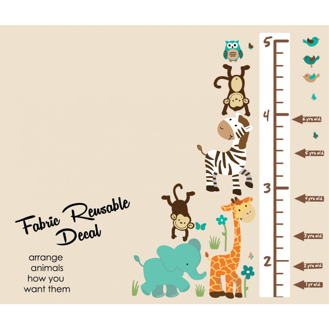 Teal Safari Wall Stickers With Child Wall Growth Chart For Children