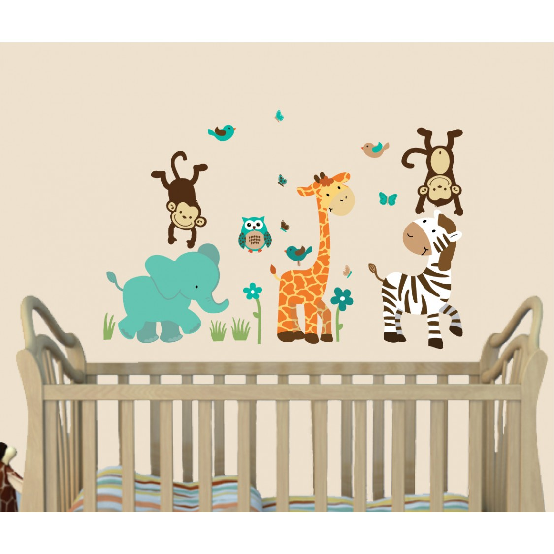 Teal Safari Wall Stickers With Giraffe Wall Decor For Children