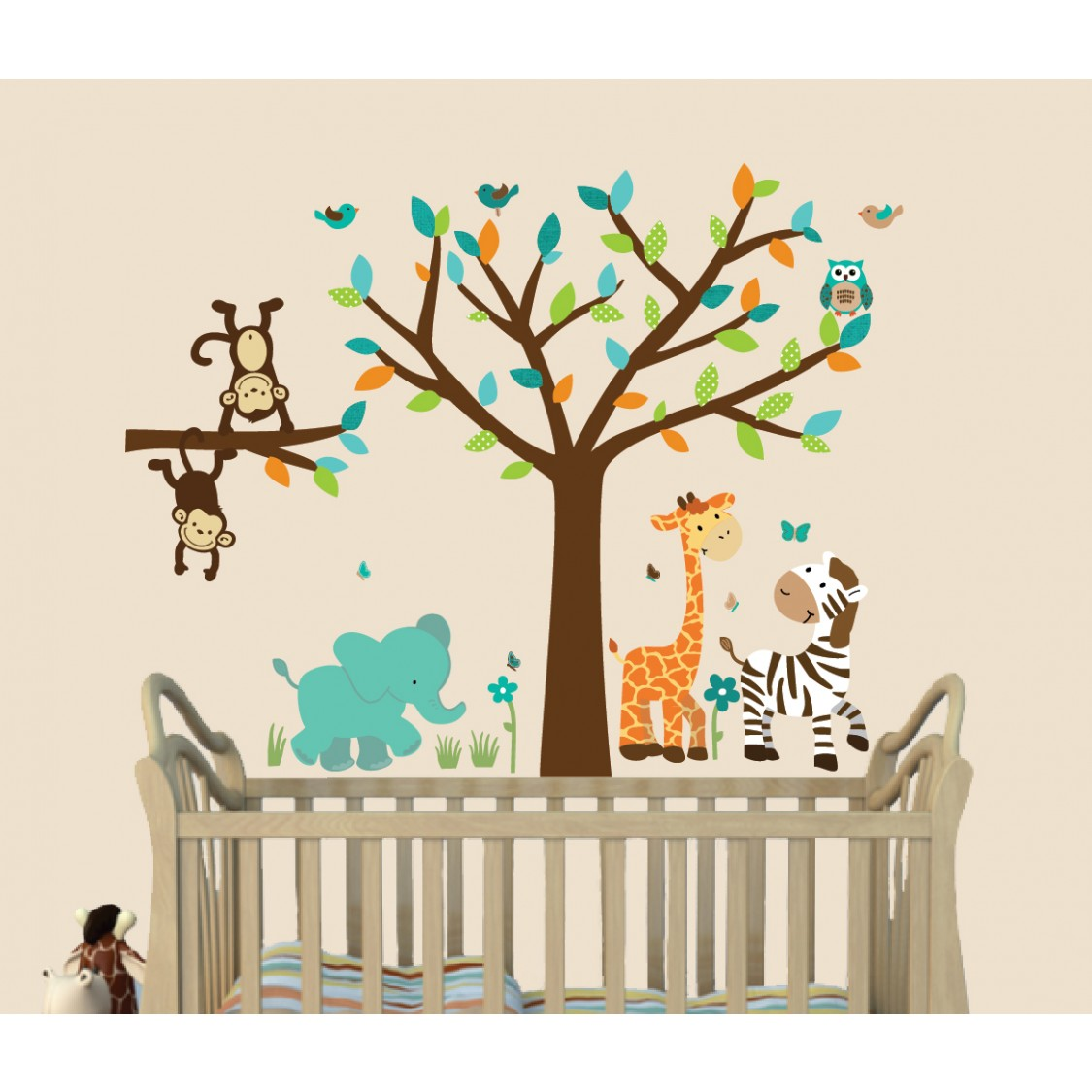 Teal Jungle Stickers With Elephant Wall Mural For Kids