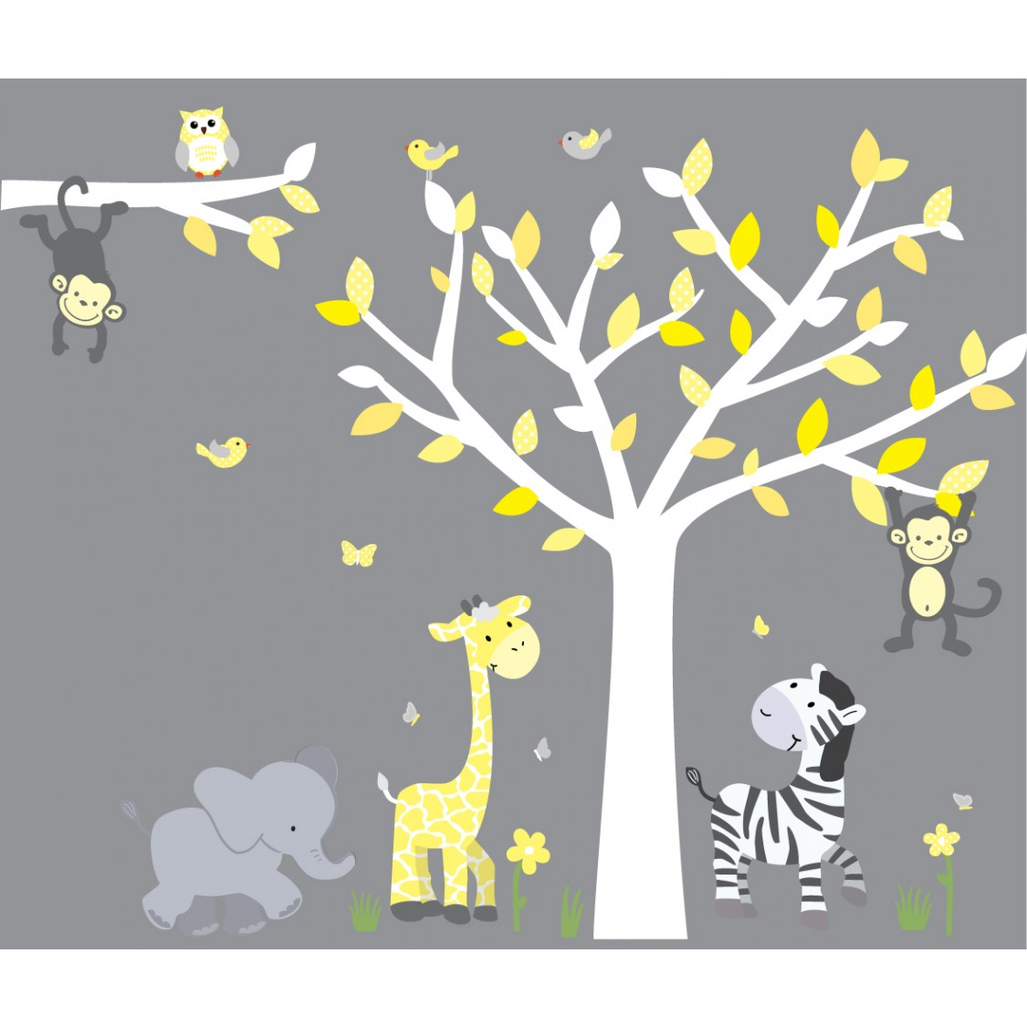 Yellow & Gray Jungle Stickers With Elephant Wall Mural For Kids