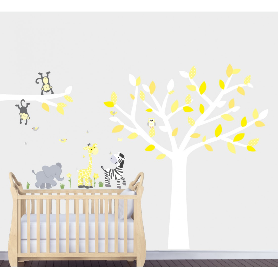 Yellow Safari Murals With Giraffe Decals For Boys Rooms