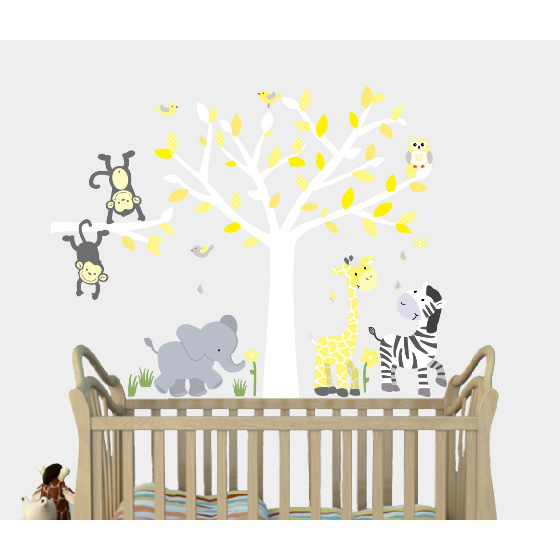 Yellow Safari Murals With Giraffe Decals For Boys Nursery