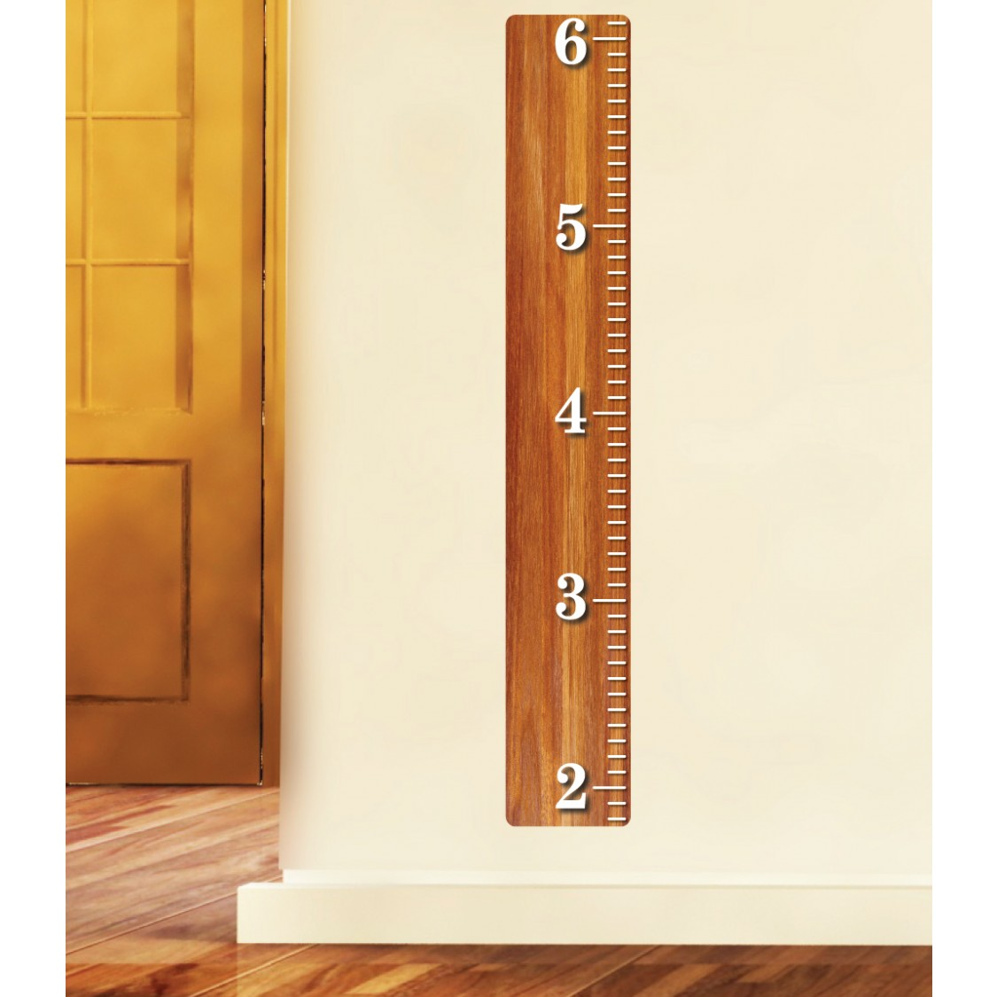 Oak Wood Ruler For Kids With Kids Wall Growth Chart For Children