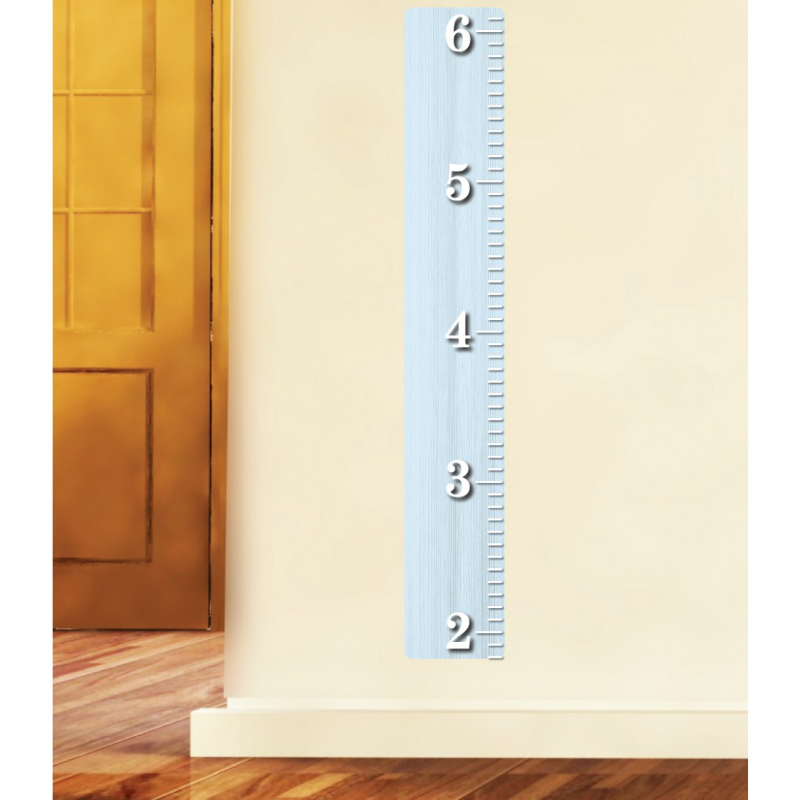 Blue Wood Ruler Height Chart of Boys Bedrooms