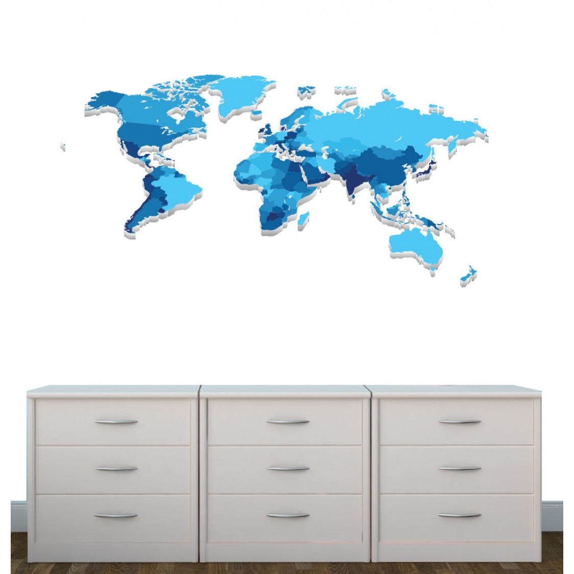 Blue World Map Decal For Boys Nursery Or Bedroom