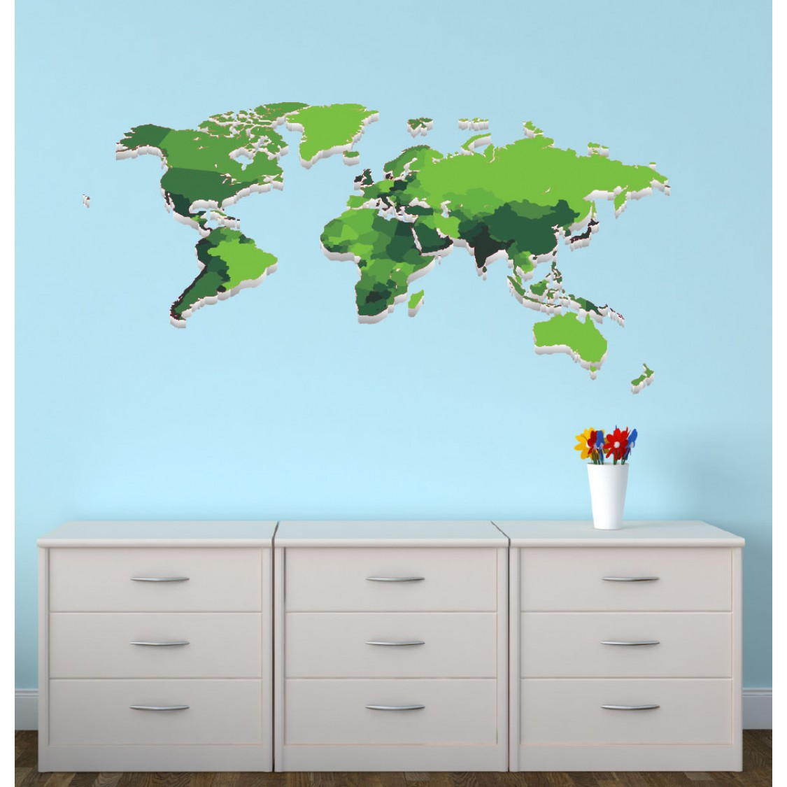 Large Wall Decal With World Map Wall Decor For Kids