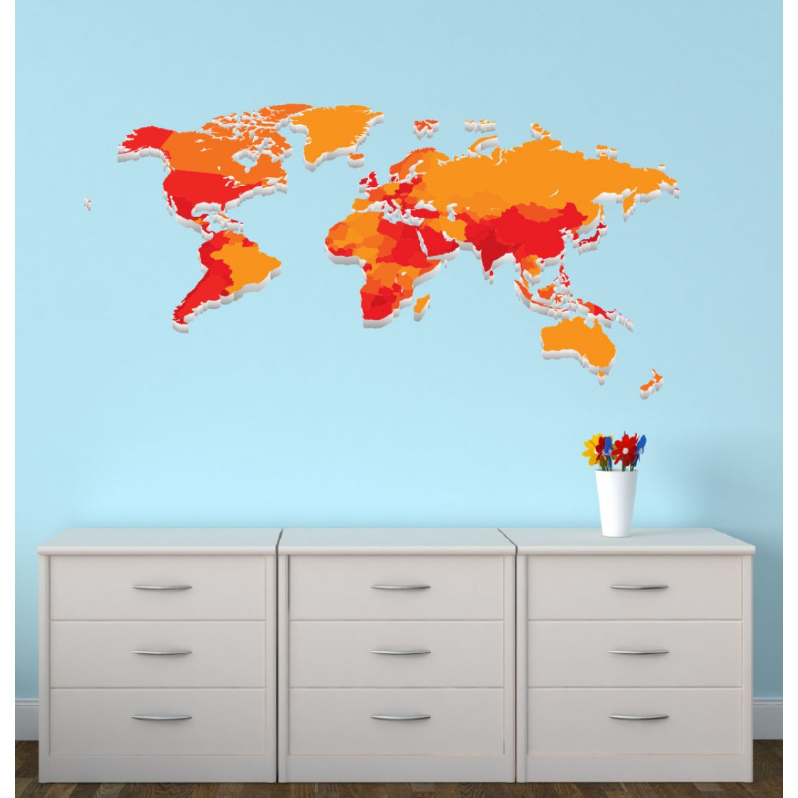 Childrens Bedroom Wall Stickers & World Map Wall Decor For Kids Rooms