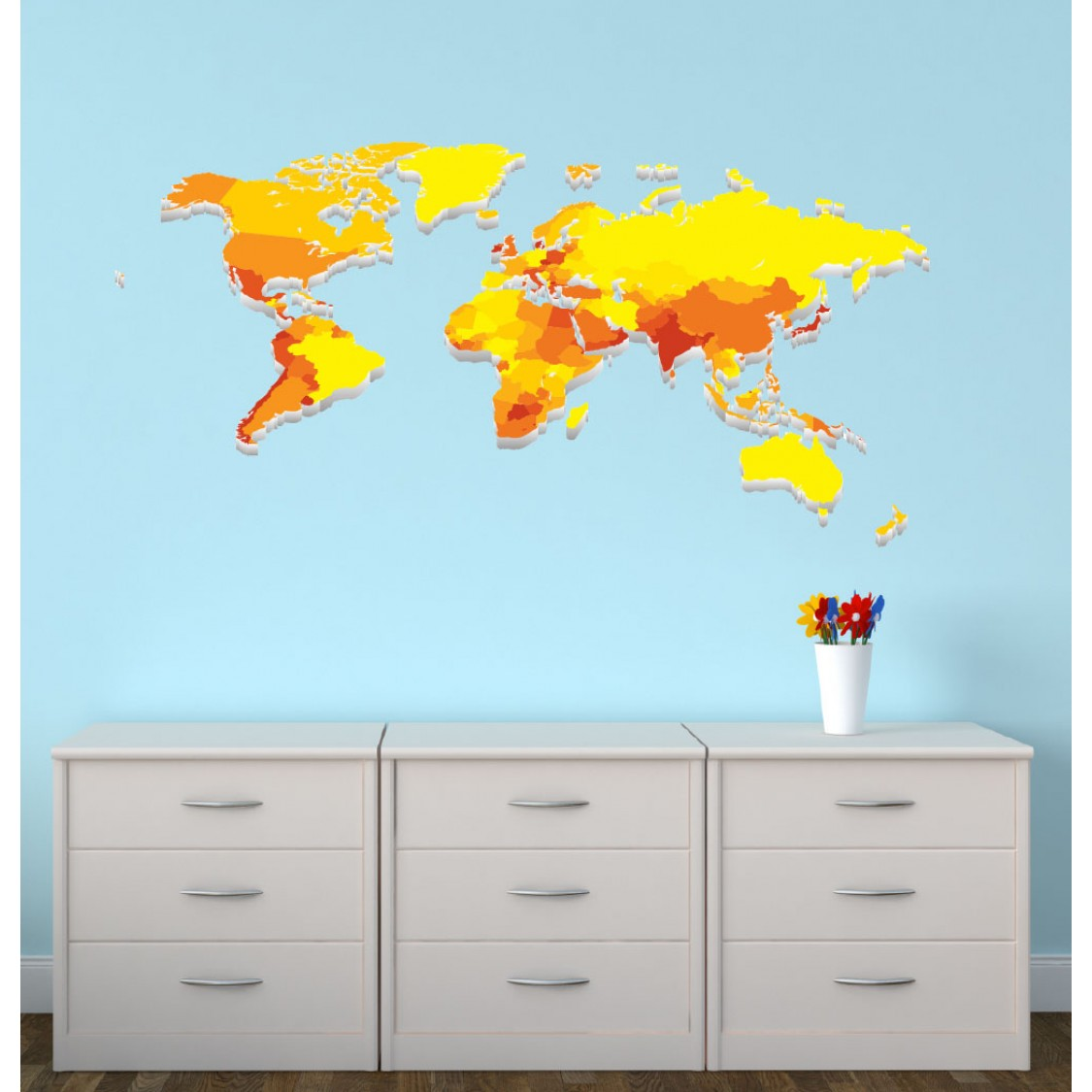 Wall Stickers For Bedrooms With Yellow World Map Decal For Kids Rooms