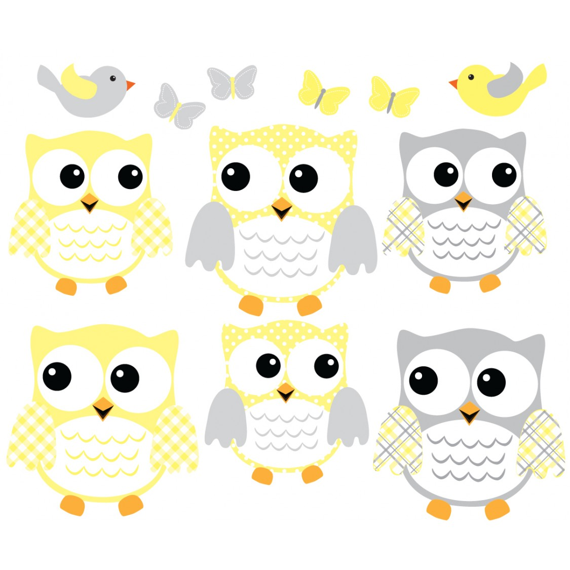 Yellow And Grey Owl Wall Decal With Bird Wall Decor For Kids Rooms - Yellow wall decals