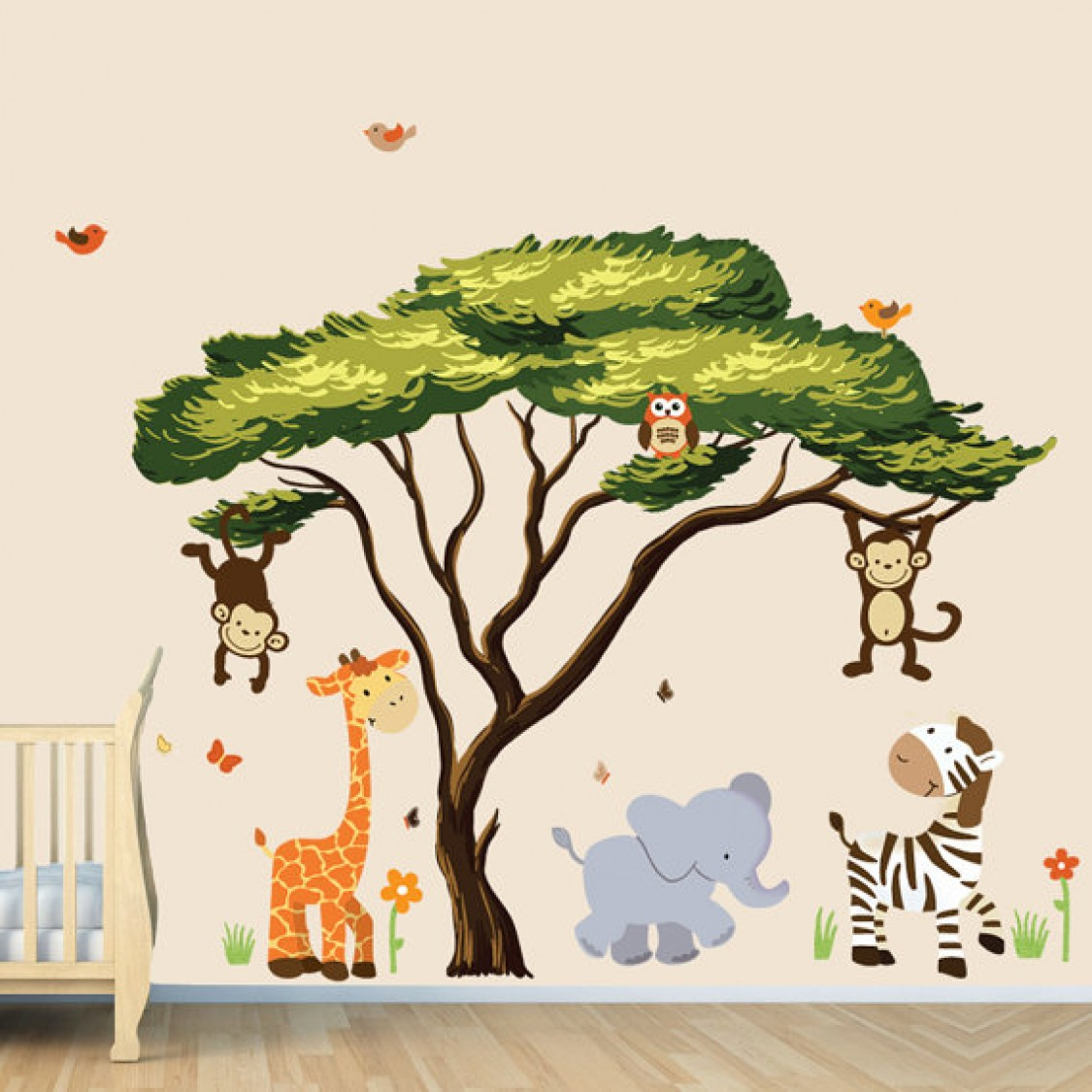 Large african tree decal and jungle animal wall decals for for Baby jungle mural
