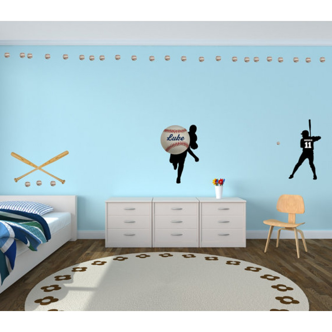 Custom Baseball And Custom Name Wall Decals For Boys Rooms
