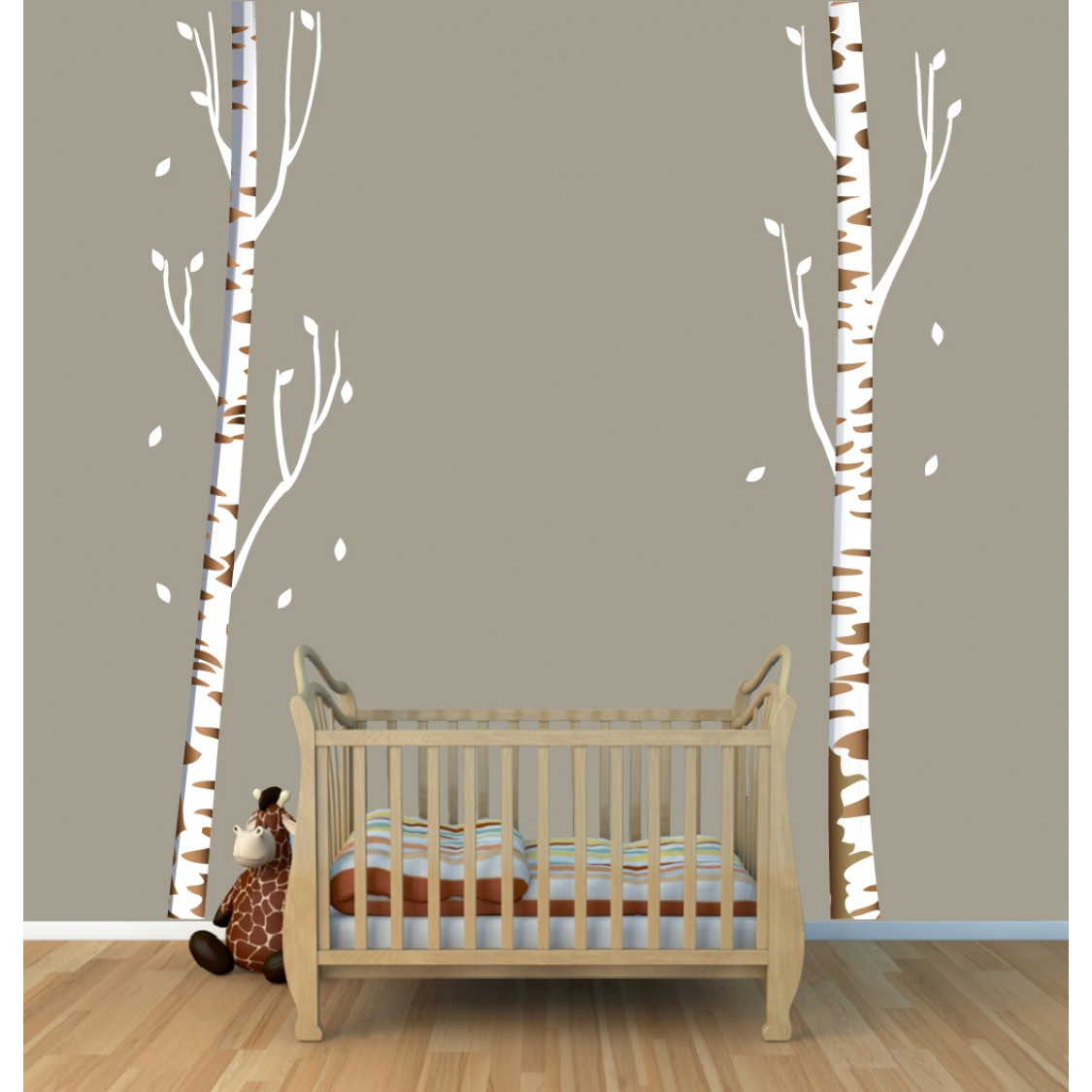 Birch Wall Decals and Tall Tree Wall Decals For Kids Rooms