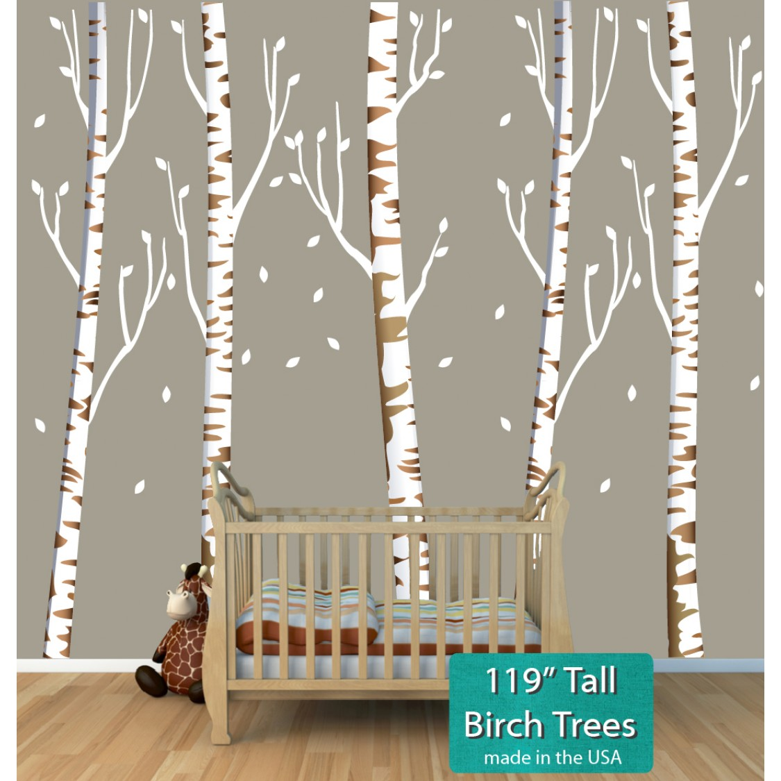 Birch tree murals for nursery or baby room for Birch trees mural