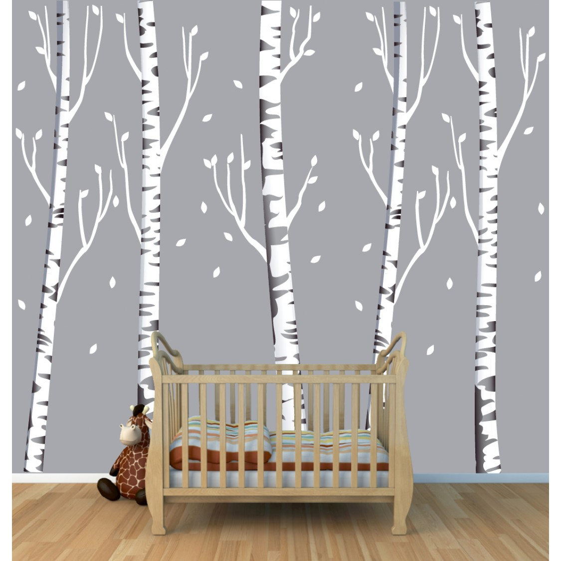Birch tree wall decals for children for Birch trees wall mural