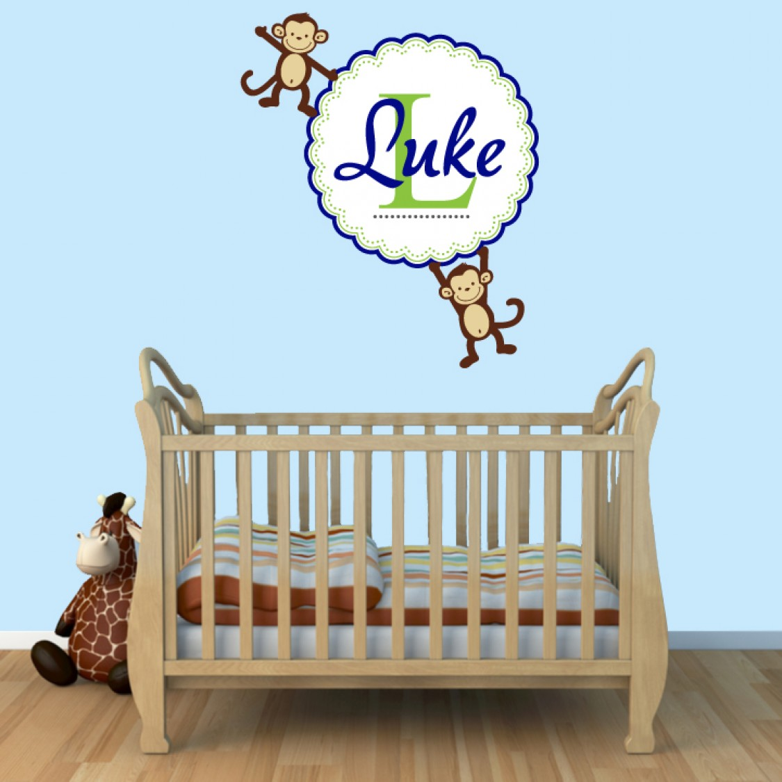 Custom Name Wall Decals With Monkeys Stickers For Boys Bedrooms