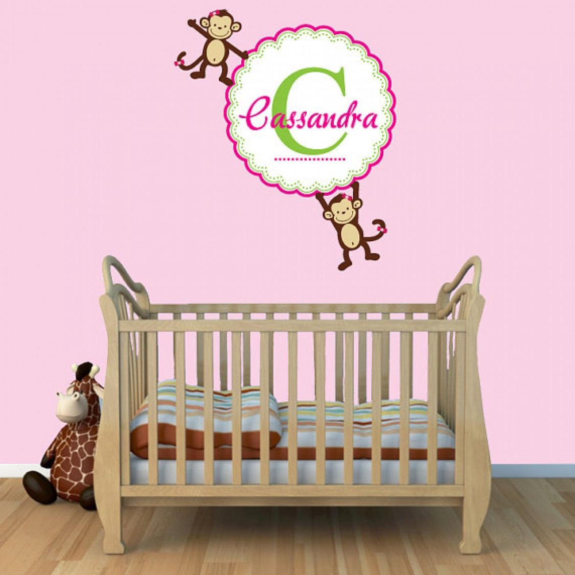 Custom Name Wall Decals For Nursery With Monkey Wall Decals For Nursery For Girls Rooms