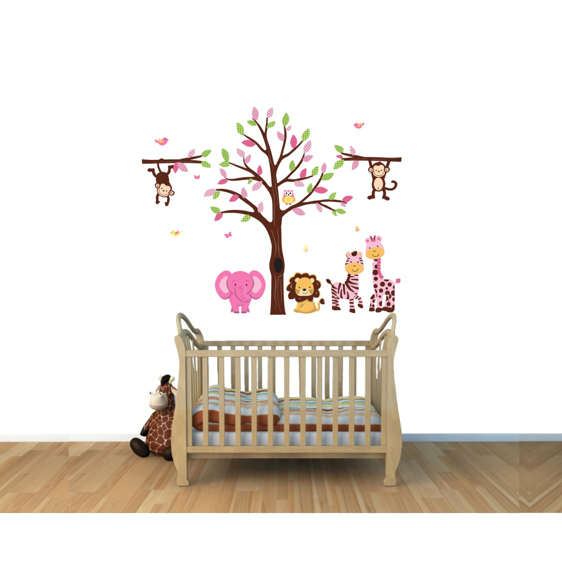 Pink Jungle Wall Decal With Elephant Wall Mural For Children