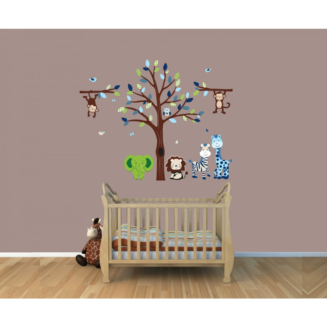 Green Safari Wall Decals With Elephant Wall Decals For Play Rooms