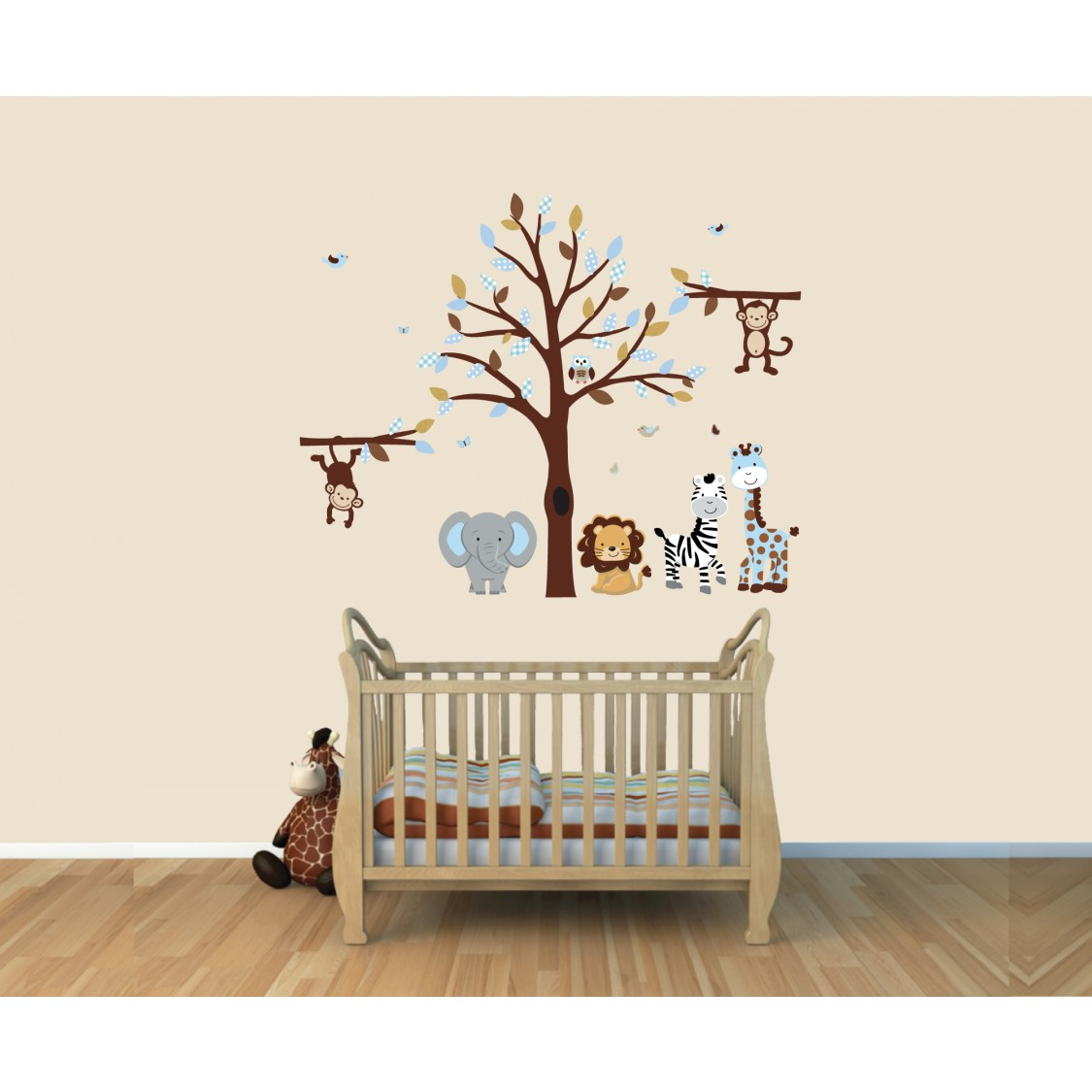 Blue Jungle Nursery Wall Decals With Animal Stickers For Kids Rooms