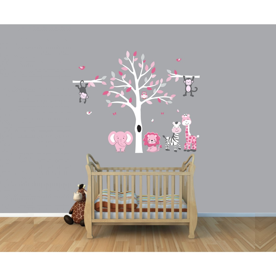 Pink & Gray Jungle Wall Decorations With Animal Stickers For Children