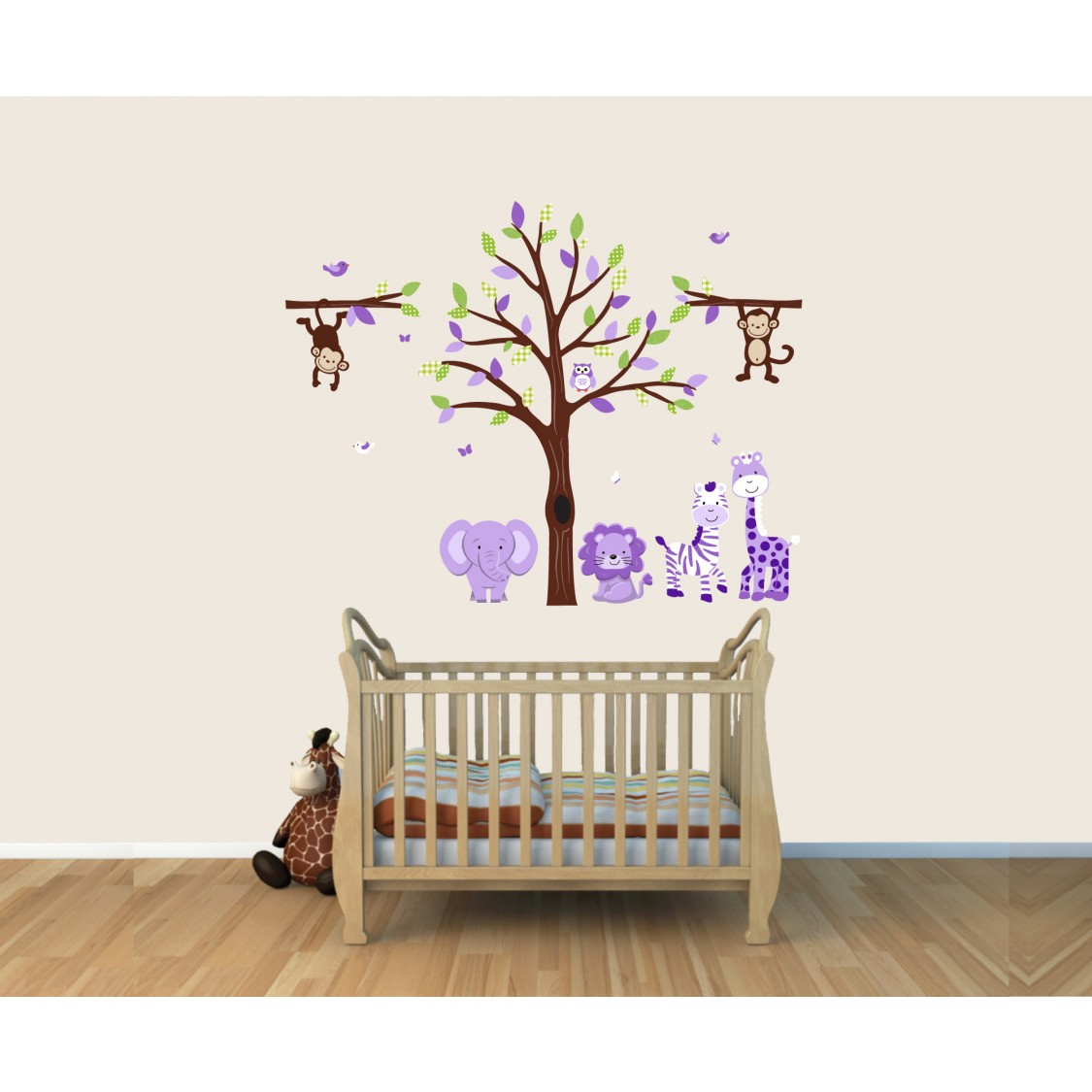 Purple and Green Jungle Animal Wall Decals For Girls Bedrooms