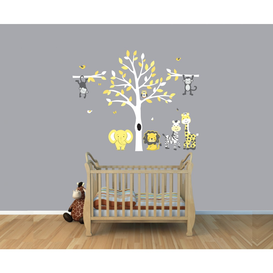 Yellow gray jungle tree wall decal with monkey wall for Baby room jungle mural